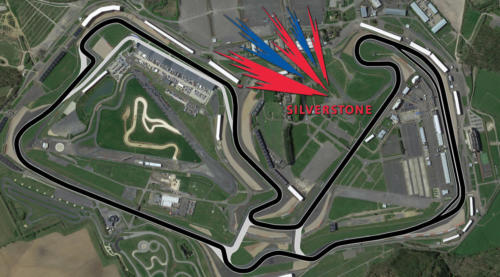 Silverstone Racing Circuit Satellite Map With Track Outline