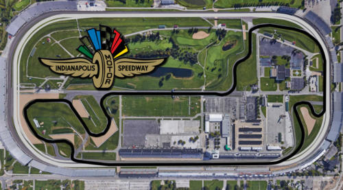 Indianapolis Motor Speedway Satellite Map With Track Outline